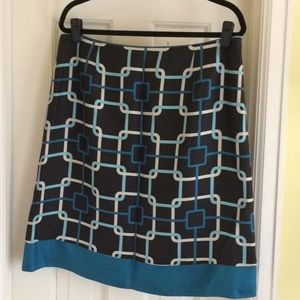 Silk Talbots skirt geometric design-beautiful ECU